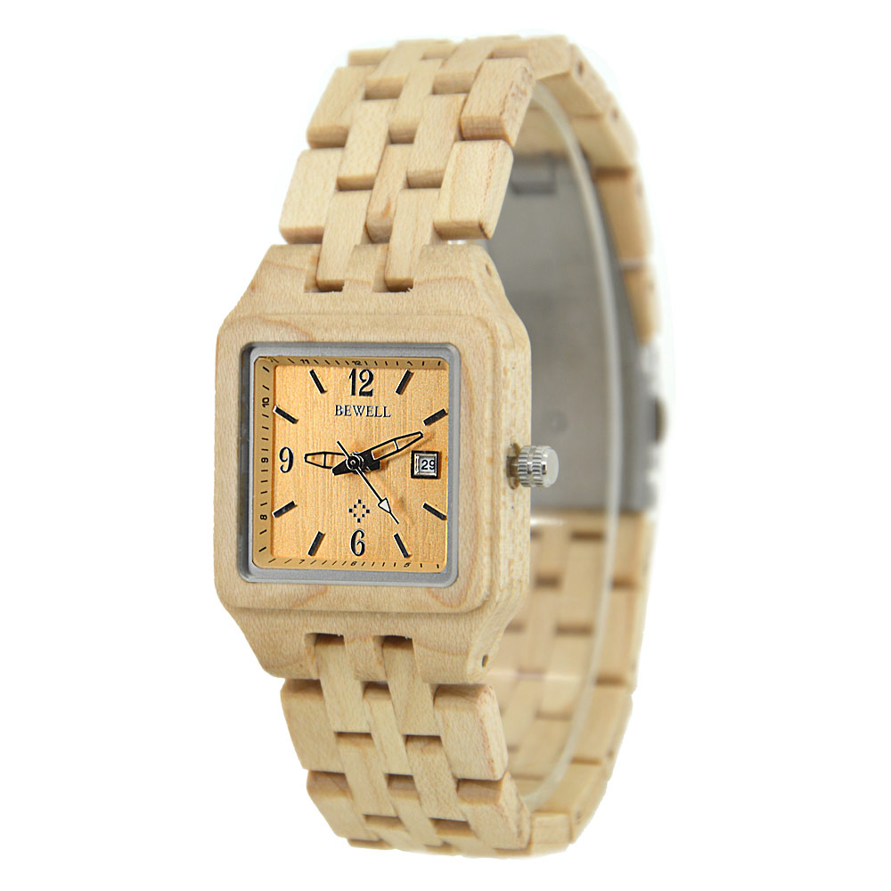BEWELL Wood Watch Top Brand Casual Women Watches Fashion Quartz Watch Ladies Wooden Wristwatch saat reloj mujer Relogio Femenino bobo bird brand new sun glasses men square wood oversized zebra wood sunglasses women with wooden box oculos 2017