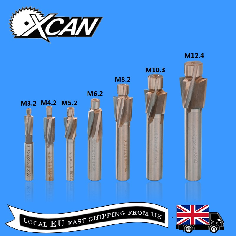 XCAN 7pcs HSS Counterbore End Mill M3.2 M12.4 Pilot Slotting Tool Milling Cutter Countersink End Mills