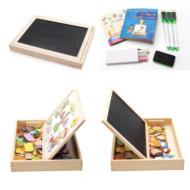Magnétique en bois puzzle enfants jouets Tangram board cartoon éducatif apprentissage jouet dessin bébé jouets pour filles garçons jouets