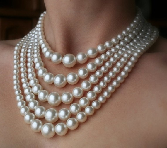 Chunky Necklace Choker Pearl White Big Faux 5-Layers Bib Dressy Multi-Strand