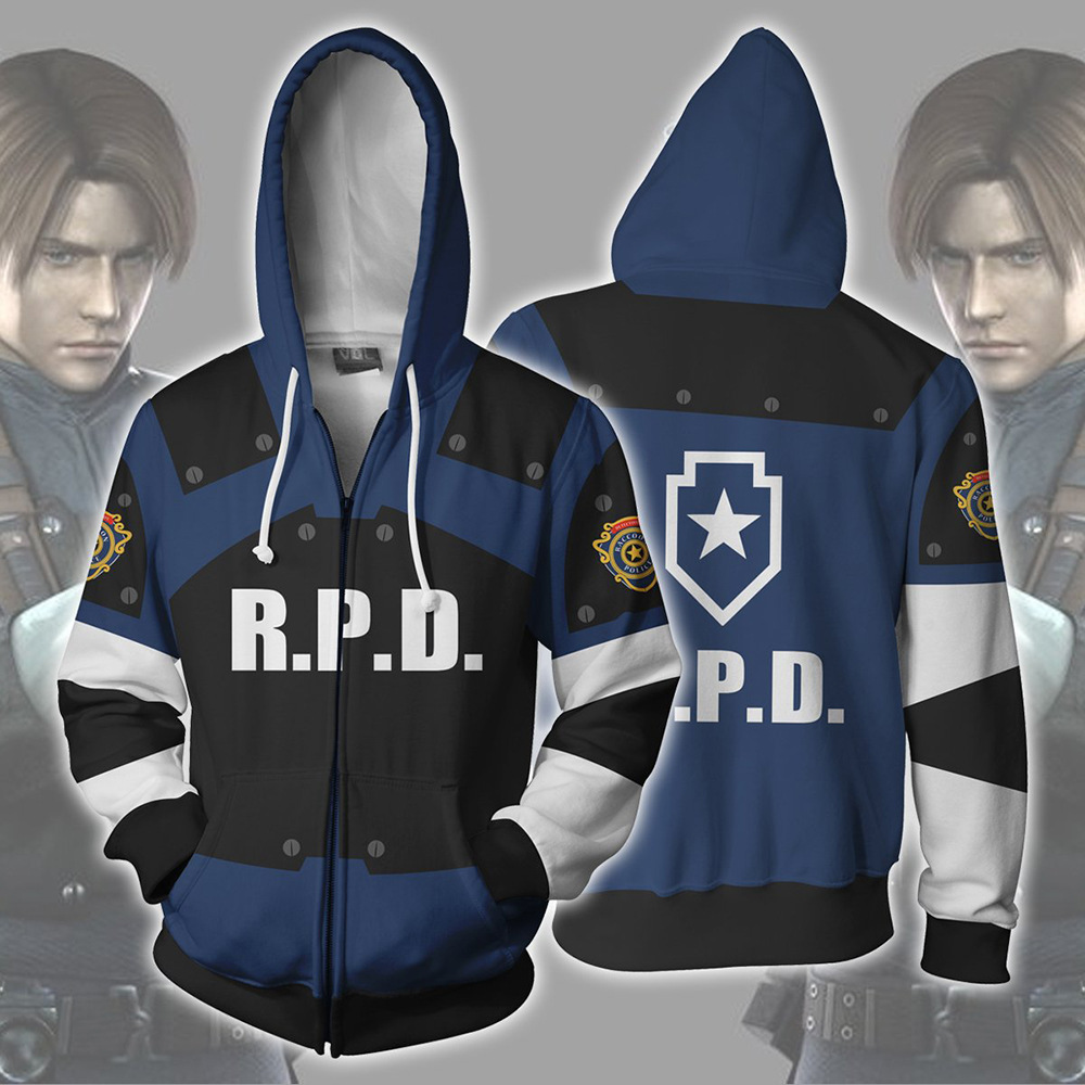 Cosplay Costume Residents RE Evils 2 Hoodies Halloween Cosplay Leon Scott Kennedy Jacket Sweater Zipper Clothing image
