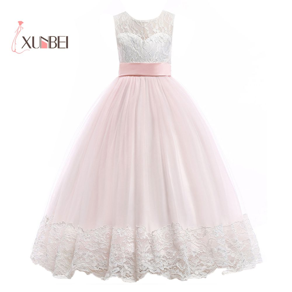 Princess White&Pink Floor Length Lace   Flower     Girl     Dresses   2019 Applique   Girls   Pageant   Dress   First Communion   Dresses   Party Gown