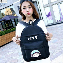 HANSOMFY   2015 Bag Backpack Korean Fashion Student Bag Printed Canvas Backpack Cartoon Maruko