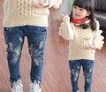 Rotos Agujero Pantalones Pantalones de los niños 2017 Muchachas de Los Bebés Pantalones Vaqueros de Marca de Moda de Primavera Otoño 2-9Yrs Niños Pantalones Ropa de Niños