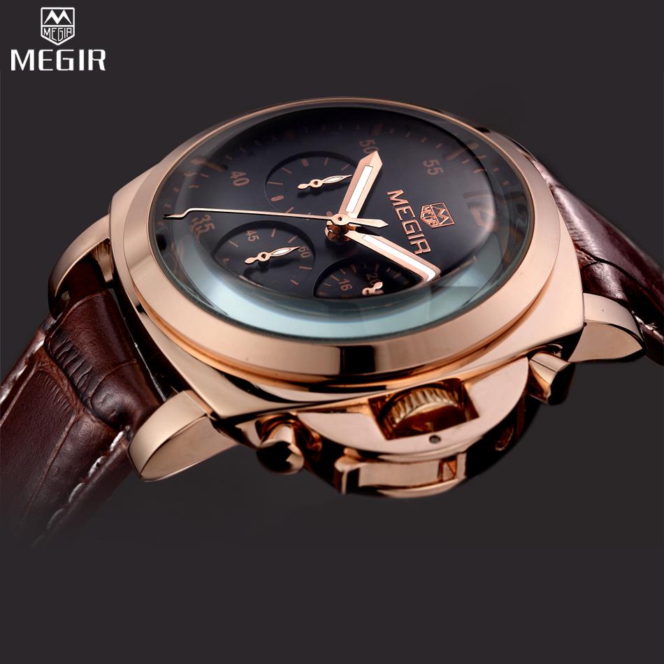 Prix pour MEGIR Chronographe Montre Sport Hommes Marque De Luxe Quartz Militaire Sport Montre Véritable En Cuir Hommes de Montre-Bracelet relogio masculino