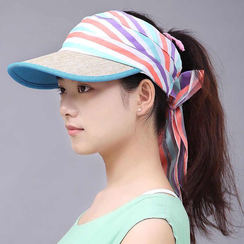 218fad9d63569 2018 Women Ladies Summer Visor Cap Tennis Sun Hat Female Girls Fashion  Outdoor Beach Hat Sports