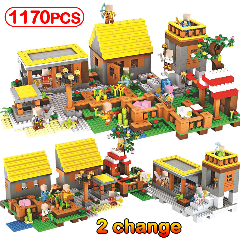 1170pcs My World Village Compatible Legoinglys Minecrafted Building Block Bricks Education Christmas Halloween Kids Toy Gifts lepin 18010 my world 1106pcs compatible building block my village bricks diy enlighten brinquedos birthday gift toys kids 21128