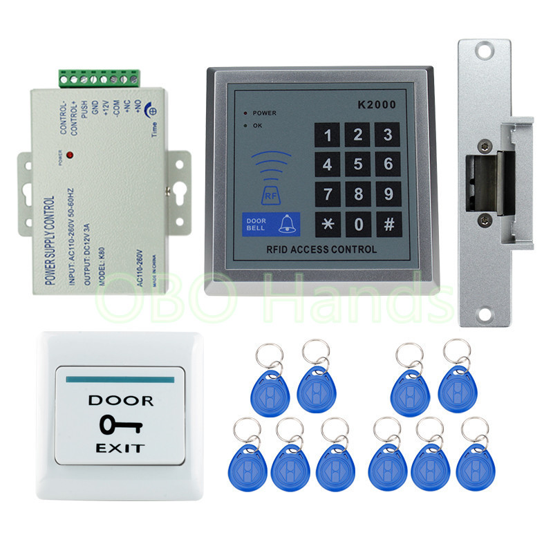 Best price 125KHz RFID door access control system full kit set with electric strike lock digital keypad+power supply+exit button rfid fingerprint door lock system access control kit set keypad electric lock power supply rfid keys door exit button best price