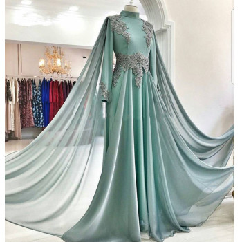 Elegant Muslim Evening Dresses 2020 A-line Long Sleeves Chiffon Lace Islamic Dubai Saudi Arabic Long Evening Gown Prom Dresses