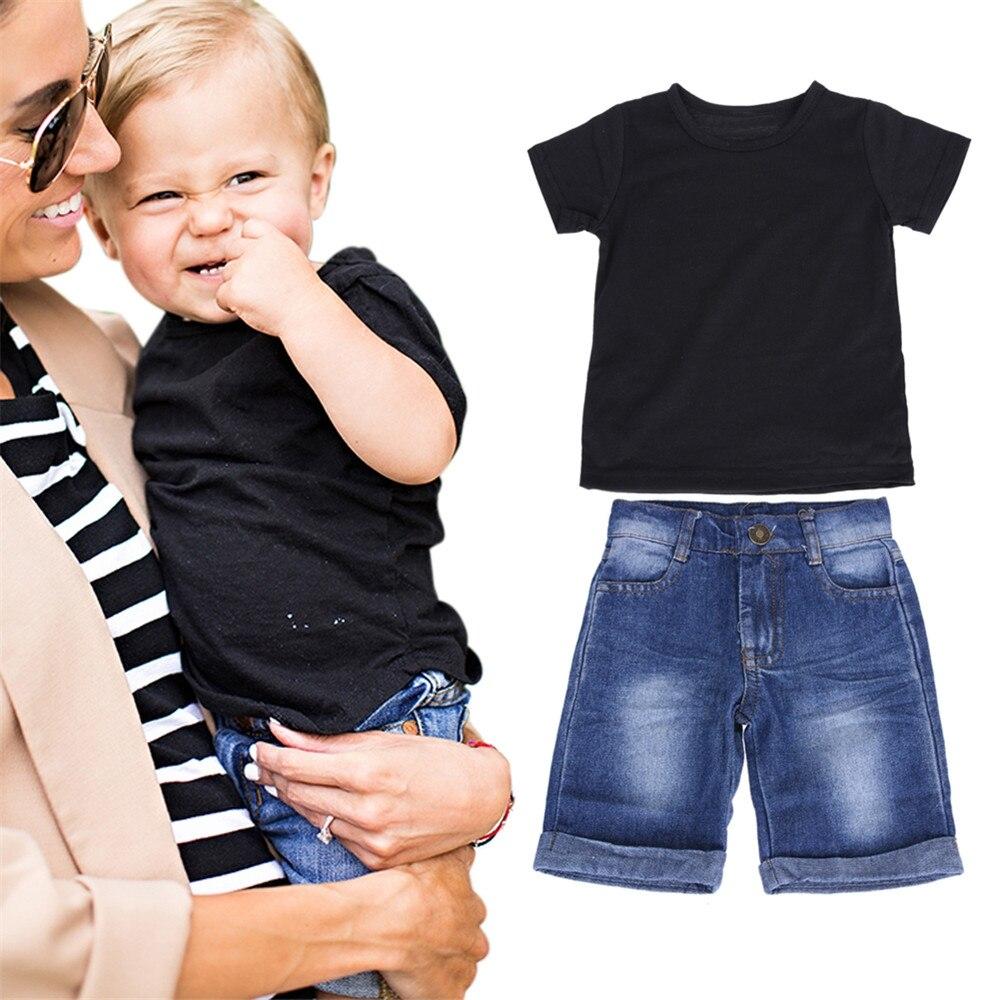 Piaozoo одежда для маленьких мальчиков комплект футболка и джинсы штаны короткий рукав o-образным вырезом футболка джинсы для маленьких мальчи...