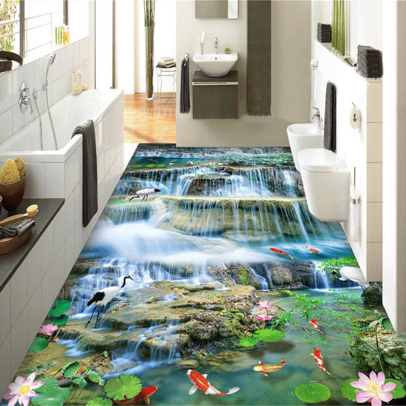 Custom Floor Mural 3D Waterfall Landscape Living Room Bedroom Bathroom Kitchen 3D Floor Sticker PVC Self-adhesive Wallpaper  custom 3d floor painting wallpaper stone steps sunshine pvc self adhesive living room bedroom bathroom floor sticker wall mural