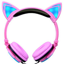 2018 Newest Cat Ear headphones LED Ear headphone cat earphone Flashing Glowing Headset Gaming Earphones for Adult and Children(China)