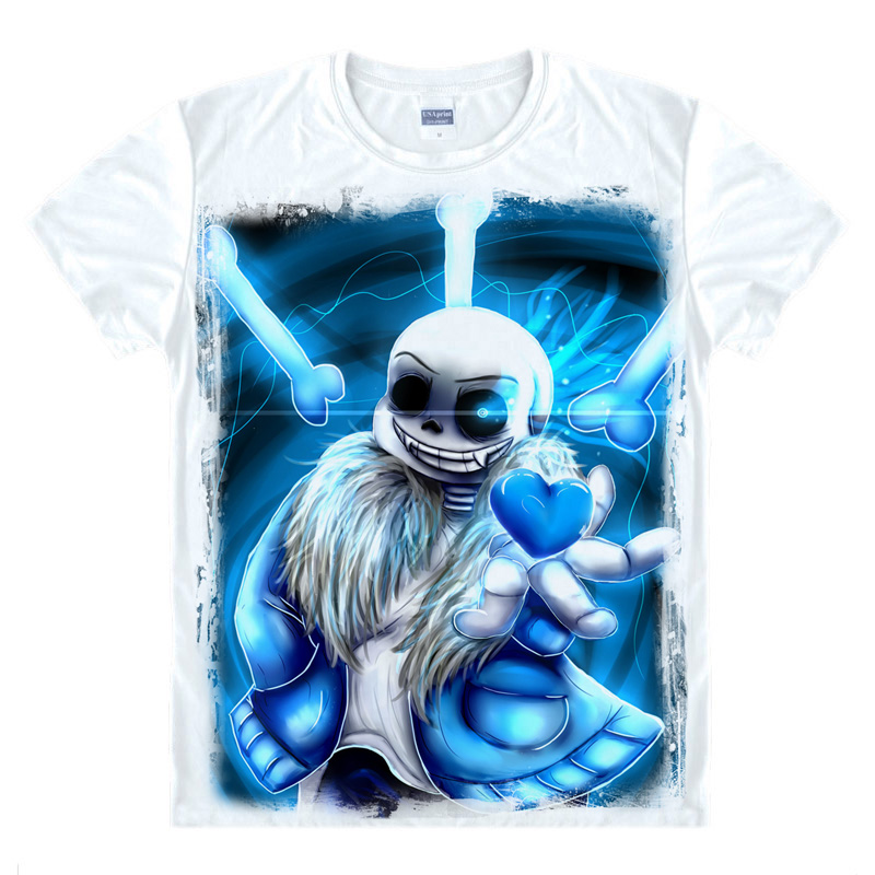Fashion Games Undertale Skull Brother Printed T-shirts Fancy T Shirt Short Sleeve Tees O-Neck Men / Women Summer Tops