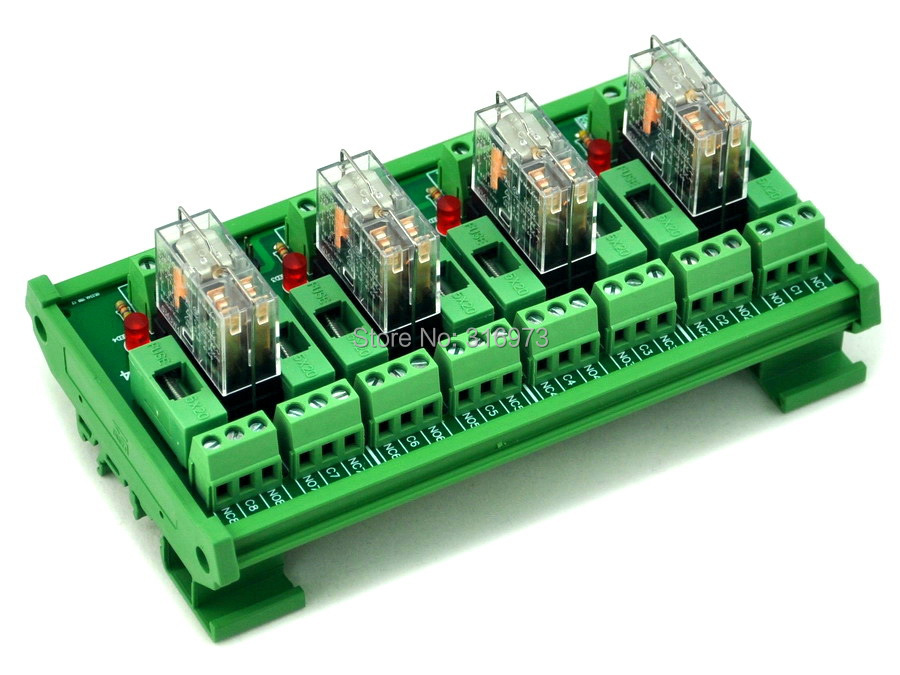 DIN Rail Mount Fused 4 DPDT 5A Power Relay Interface Module G2R 2 12V DC Relay
