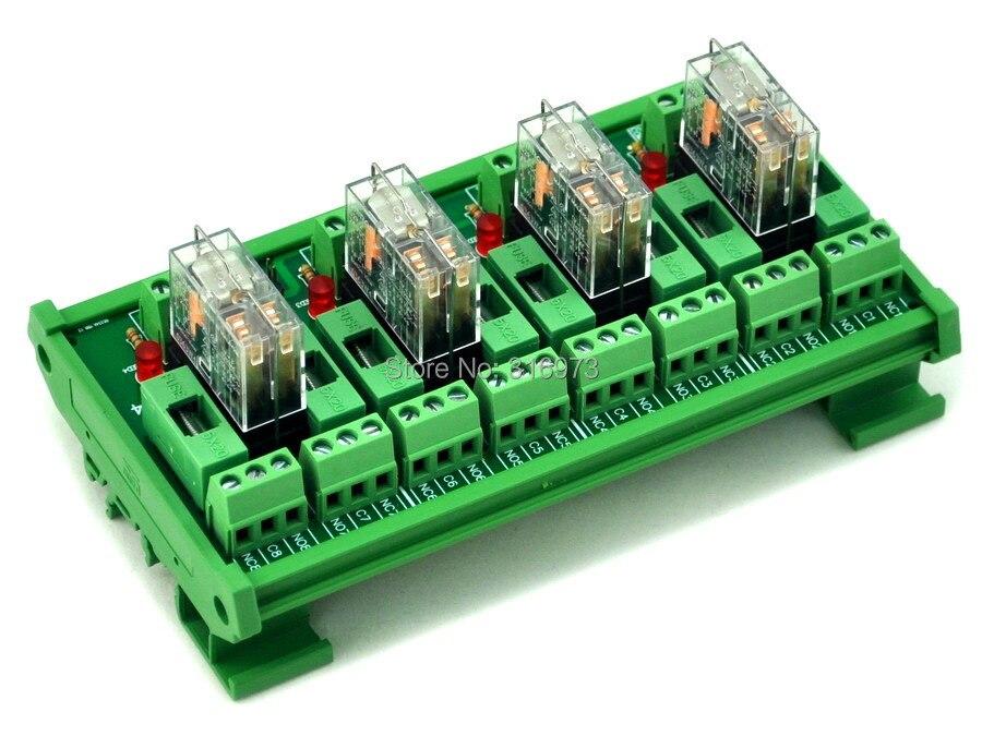 Module dinterface de relais de puissance 4 DPDT 5A fondu sur Rail DIN, relais cc 12 V G2R-2.Module dinterface de relais de puissance 4 DPDT 5A fondu sur Rail DIN, relais cc 12 V G2R-2.