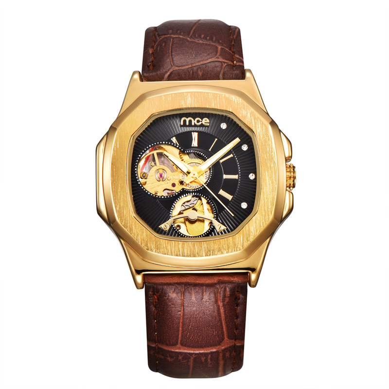 Men Leather watches New Fashion Sport MCE Mechanical Movement Square Golden Dial Military Cool Stylish Watch relojio