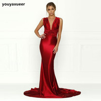 Sexy Red Dress Sheath Maxi Dresses DIY Straps Gown Open Back Shiny Wine Satin Bodycon Backless Evening Party Dress Club Dress