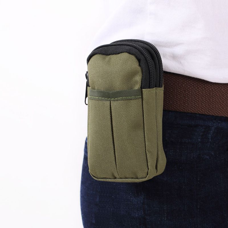 Outdoor Running Bag Tactical Bag Waterproof Double Zipper Waist Fanny Pack Military Nylon Phone Pouch For Camping Hiking Hunting