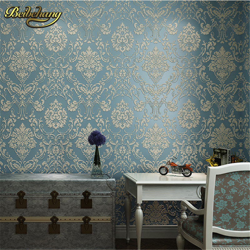 beibehang papel de parede 3D non-woven wall paper roll embossed idyllic romantic bedroom living room TV background wallpaper beibehang embossed damascus non woven wall paper roll modern designer papel de parede 3d wall covering wallpaper for living room