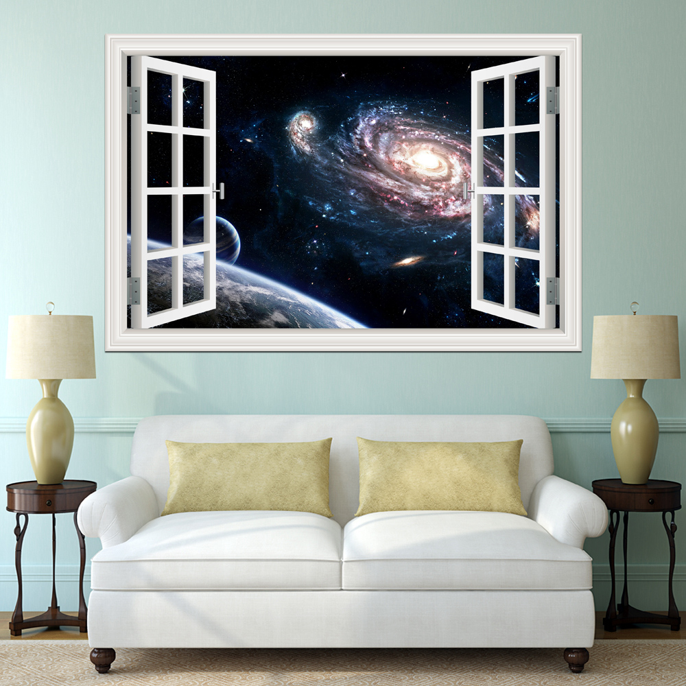 Kosmische ruimte Stickers Planeet Galaxy Behang Home Decor Woonkamer 3D Raam Landschap Muursticker Decals Muurschilderingen