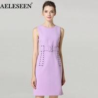 Из органической кожи новые летние Платья для женщин 2018 Высокое качество модные фиолетовый/черный Заклёпки тонкий элегантный пояс мини-плат...
