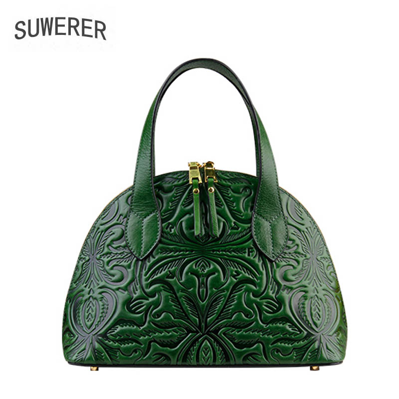 Genuine Leather handbag 2018 new original shell package Fashion handbags Luxury Embossed Shoulder Messenger Bag naisibao2018 new luxury fashion 100% high quality leather handbag shell bag messenger bag leather embossed wind coat
