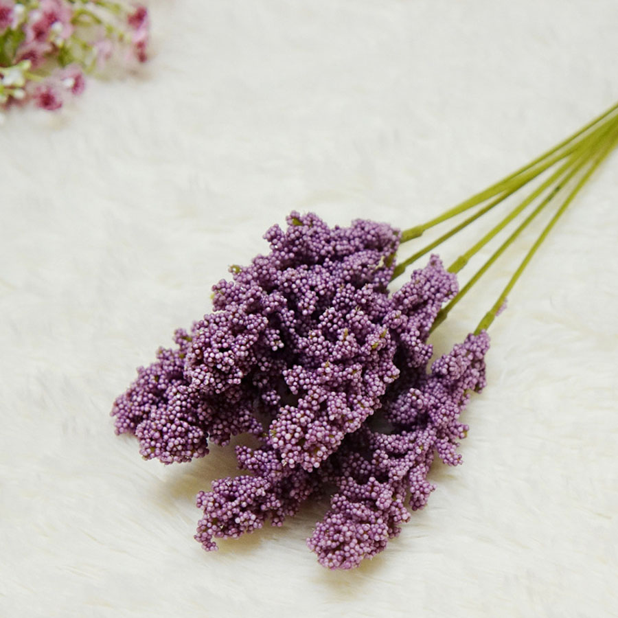 6Pcs/Pack Mini Vanilla Foam Berry Spike Artificial Flowers for Wall Decoration 4