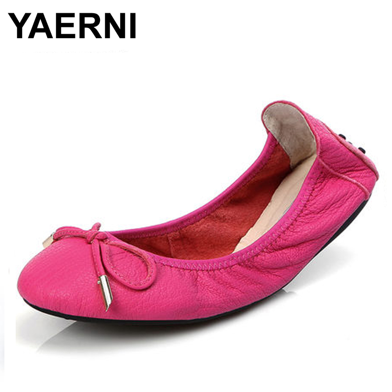 YAERNI Brand Women Shoes Plus Size 30-43 Genuine Leather Shoes Hot Sale Ballet Flats Shoes Foldable Travel Shoes Pregnant Shoes brand new hot sale blue red yellow black green glossy patent leather women nude flats ladies shoes av123 plus big size 49 10 13