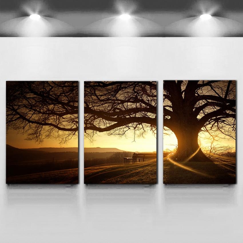 3 plošča moderno tiskano drevo slikarstvo slika Cuadros sončni zahod platno slikarstvo stenska umetnost domači dekor za dnevno sobo brez okvirja F035