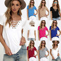 Women's short Sleeve summer  V Neck casual tops bondage harajuku T-shirt camisa Femininas  BEACH TEES