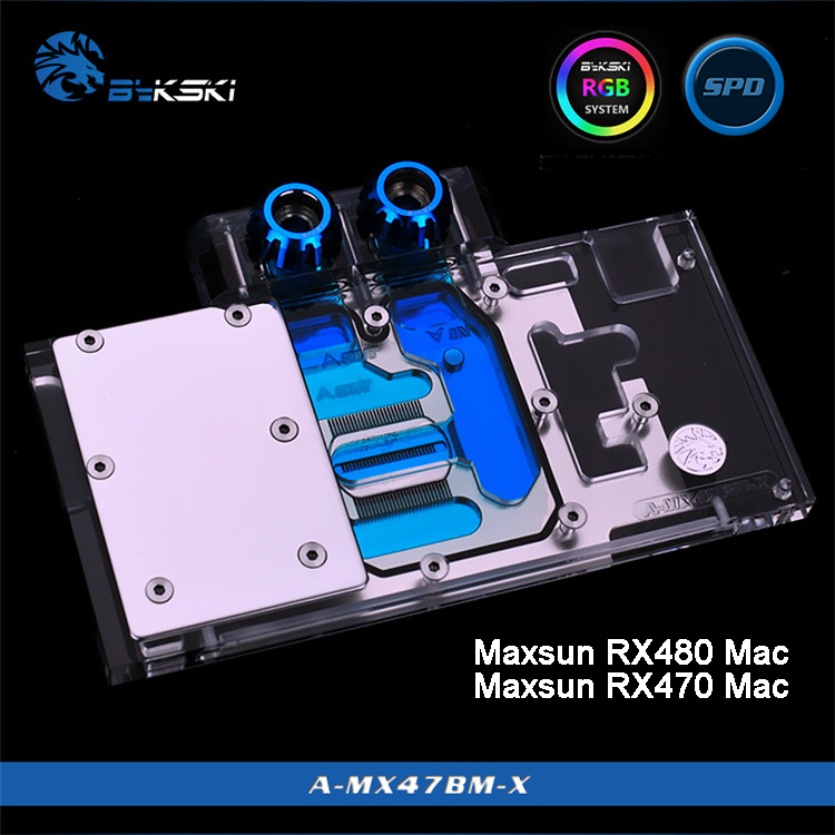 Bykski A-MX47BM-X Full Cover Graphics Card Water Cooling Block for Maxsun RX480/470 Mac bykski a xf37bwpk x full cover graphics card water cooling block for xfx r9 370 370x 380 380x