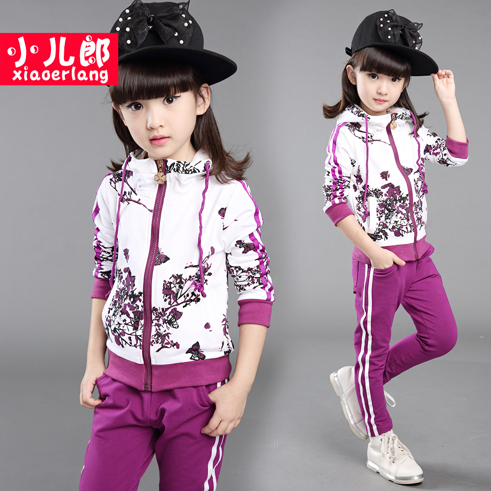 2016 new children's clothing girls Zhongda children new baby sports suit casual long-sleeved two-piece autumn