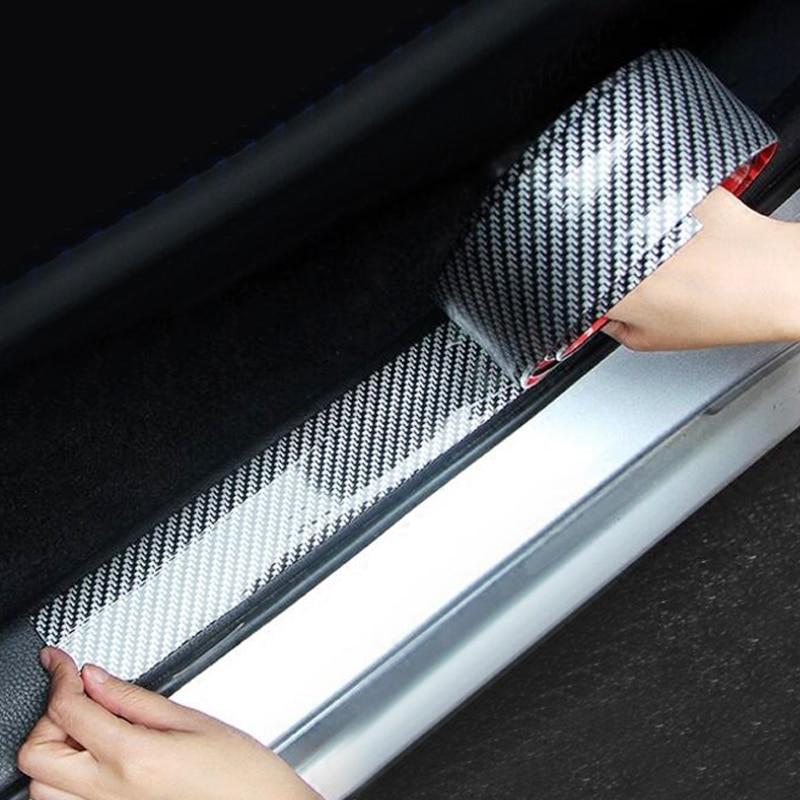 Car Body Bumper Stickers 5D Carbon Fiber Rubber Styling Door Sill Protector Goods Car Decoration Accessories Auto Exterior Parts