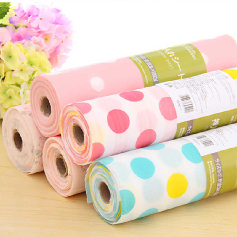 1 Roll Waterproof Anti-oil Drawer Mat Paper Many styles Printed Floral Cabinet Drawer Kitchen Shelf Liner Drawer Paper