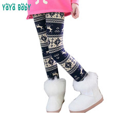 fd8aeb72b Girls Legging Autumn Winter 2018 Thick Warm Kids Leggings for Girls Flower  Christmas Deer Printed Children