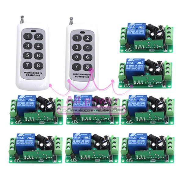 150M12V 1CH wireless remote control switch 8 receiver board & 2 transmitter remote controller Learning code 315/433MHZ dmx512 digital display 24ch dmx address controller dc5v 24v each ch max 3a 8 groups rgb controller