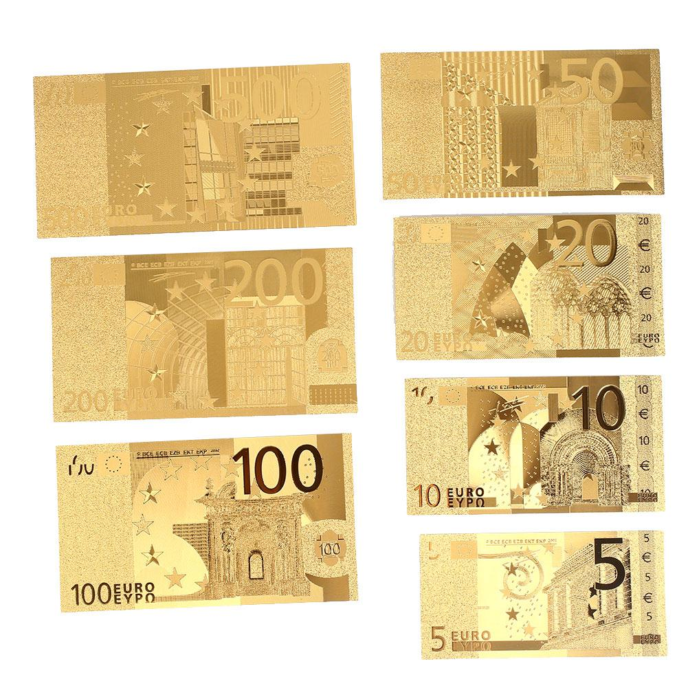 Gold Antique Plated Souvenir 7PCS Coin Banknotes Decoration Antique 5 10 20 50 100 200 500Euro Gifts 24K Gold Plated Euro