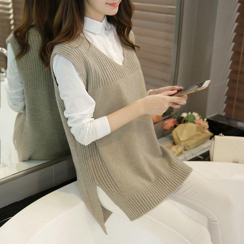 #0726 2018 Autumn Loose Long Sleeveless Knitted Vest Women Waistcoat V-Neck Plus Size Vest Ladies Stretch Veste Femme Outwear
