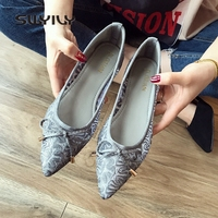 SWYIVY Pinted Toe Flats Shoes For Woman Black/grey Sexy Lace Summer Shoes Women Loafers Slip On Flatform Flats Shoes Women 2019