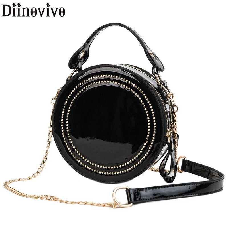 70420694d8a4 DIINOVIVO модная женская сумка из лакированной кожи, маленькая круглая сумка  через плечо с заклепками для