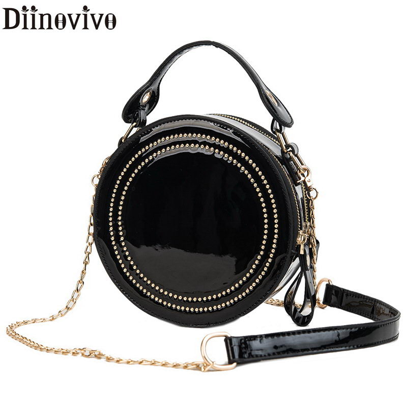 DIINOVIVO Fashion Patent Leather Women Bag Small Rivet Round Crossbody Bag For Women Chain Brand Bags Ladies Hand Bags WHDV0902