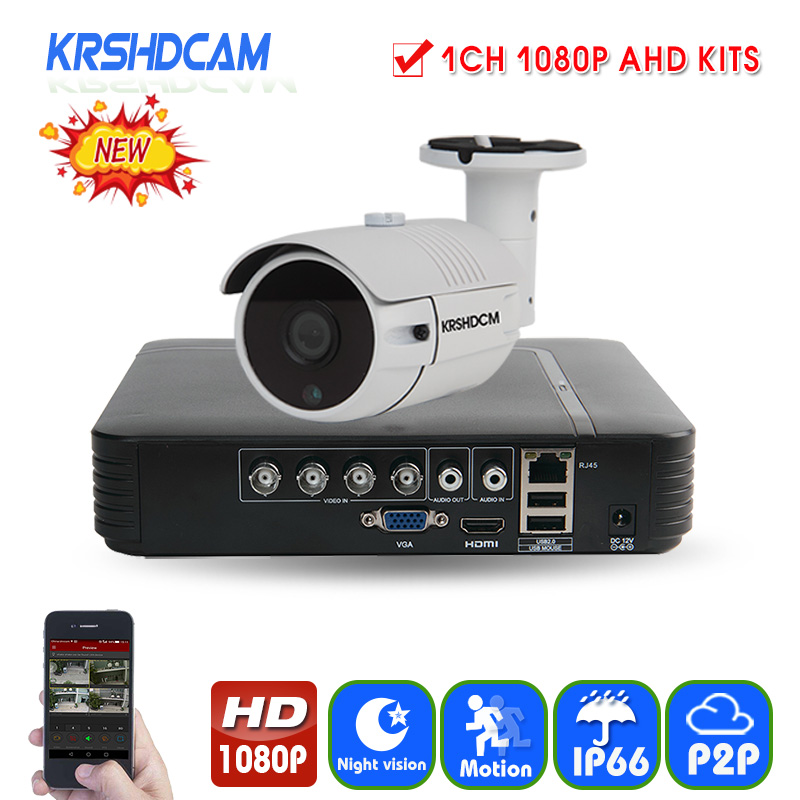KRSHDCAM 1CH Security CCTV System AHD DVR 30M IR 1PCS 1080P CCTV Camera Outdoor Waterproof Camera Home Video Surveillance Kit cnhidee home security camera system nightvision ahd 8ch 720p ir 1200tvl dvr hd kit video surveillance system 8ch outdoor kit set
