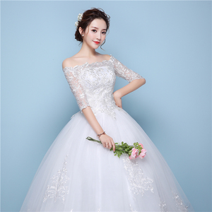 Image 2 - White Lace Boat Neck Half Sleeve Fashion Simple Wedding Dress Gowns Hiqh Quality Floor Length Big Embroidery Off the shoulder