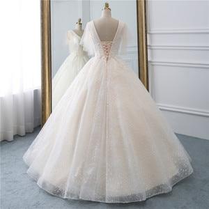 Image 2 - Fansmile Tulle Mariage Vintage Princess Ball Gown Wedding Dresses 2020 Quality Lace Plus size Wedding Bride Dresses FSM 519F