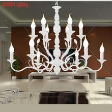 Regron Rustikalen Kronleuchter Eisen Weiß E14 Led Leuchten Für Esszimmer  Foyer Shop Schlafzimmer Lounge Kreative Natürlichen Hän..