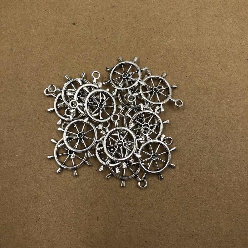28mm venda quente antigo bússola leme âncora encantos pingentes de âncora para colar pulseira jóias fazendo diy artesanal 5ps
