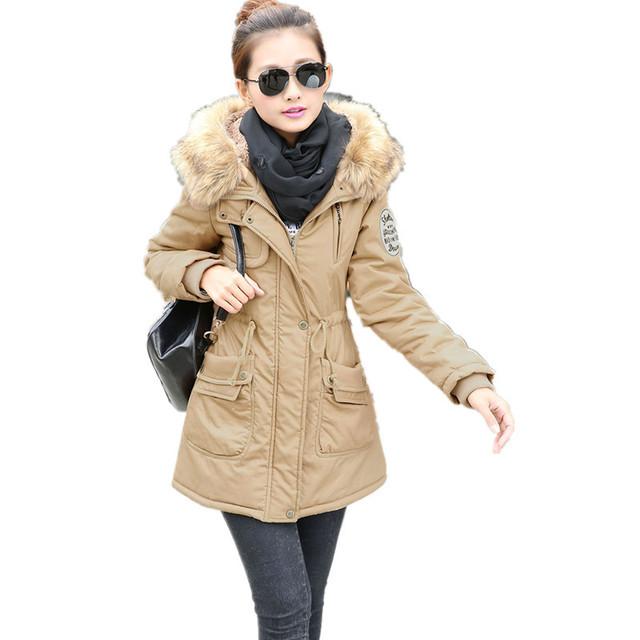 2016 Mulheres Jaqueta Casaco Amassado Jaqueta de Médio-longo Plus Size 4XL Parka Gola De Pele Capuz Espessamento Abrigos de Neve Feminino desgaste TT1688C