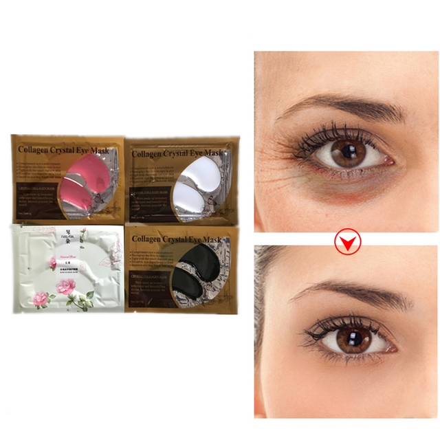 8Pcs Beauty Gold Crystal Collagen Eye Mask Eye Patches Moisture Anti-Aging Acne Skin Care Patches For Eye Skin Whitening Makeup Creams