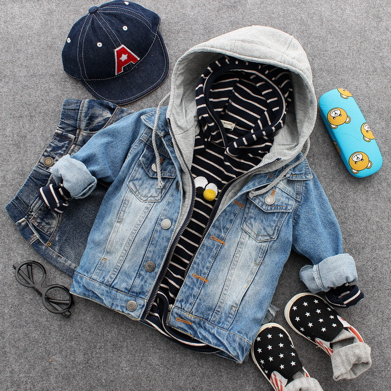 only jacket 1pc 2-6Y new 2017 autumn boys fashion denim jacket with hood boys casual jacekt kids spring autumn hoodie