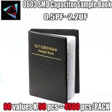 0603 kondensator SMD próbki książki 90valuesX50pcs = 4500 sztuk 0.5PF ~ 2.2UF kondensator zestaw asortymentowy opakowanie